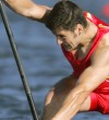 David Cal of Spain paddles to the second place in the Men's C1 500 meter final to win the silver medal, during the canoe flatwater event at the 2004 Olympic Games in Schinias near Athens, Greece, Saturday, Aug. 28, 2004. (AP Photo/David Guttenfelder)© RADIAL PRESS